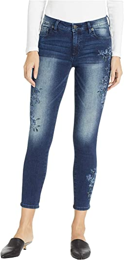 Floral Embroidered Ankle Skinny Jeans in Medium Blue