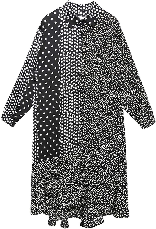 PilotageAuto Springew Loose Dot Print Long Sleeve MidCalf Dress Stand Collar Button Slim Clothing Tide