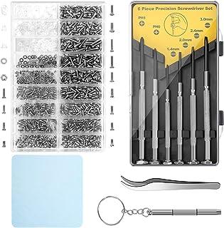 Eyeglass Repair Kit,Sunglasses Repair Kit with 1100pcs Eyeglass Screws Include Nose Pads, Precision Screwdriver Set and Tw...