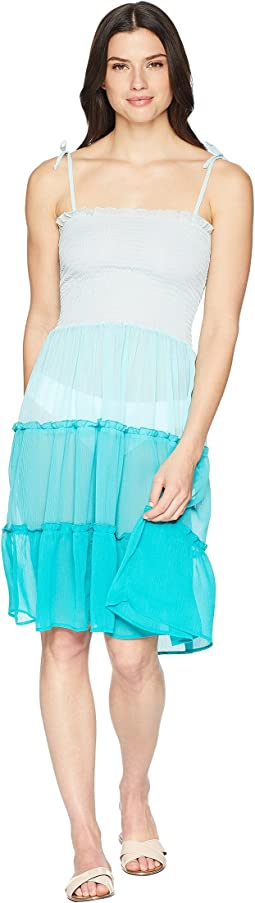 Smocked Bandeau Tiered Dress Cover-Up