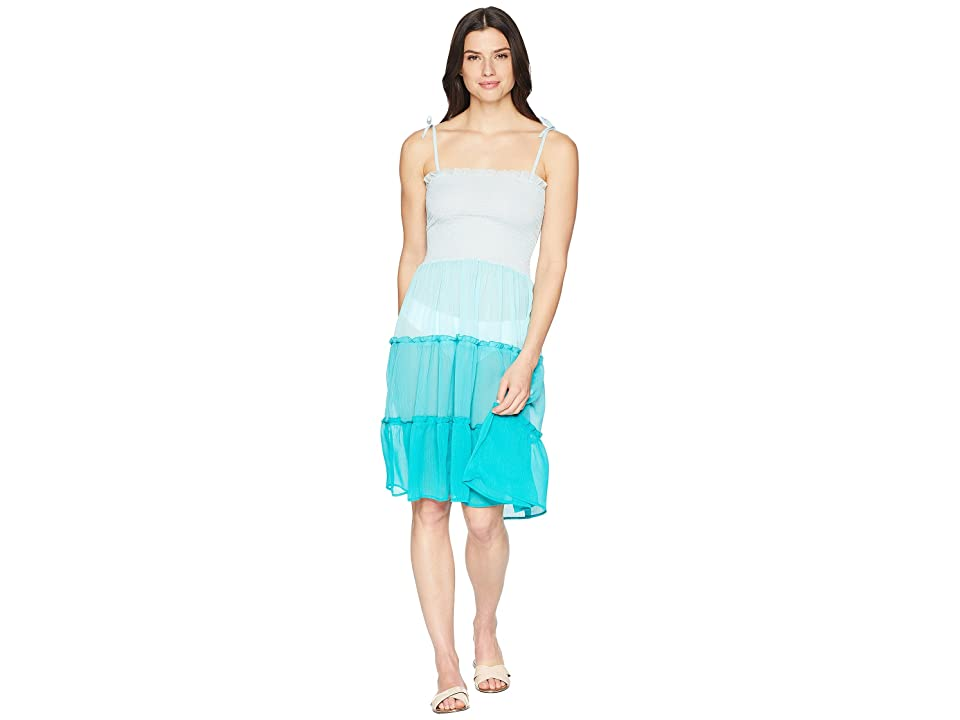 Bleu Rod Beattie Smocked Bandeau Tiered Dress Cover-Up (Summer Teal) Women