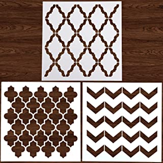 LOCOLO 3Pcs Stencils Reusable 12x12 Inch Wall Template Stencil for Painting Wall/Floors/DIY Home Decor/Drawing Art