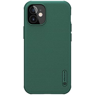 """Nillkin Case for Apple iPhone 12 Mini (5.4"""" Inch) Super Frosted Shield Pro Hard Back Soft Border (PC + TPU) Shock Absorb Cover Raised Bezel for Camera Protect PC Without Logo Cut Deep Green"""