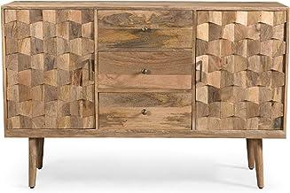 Zona Mid-Century Modern Mango Wood 3 Drawer Sideboard with 2 Doors, Natural