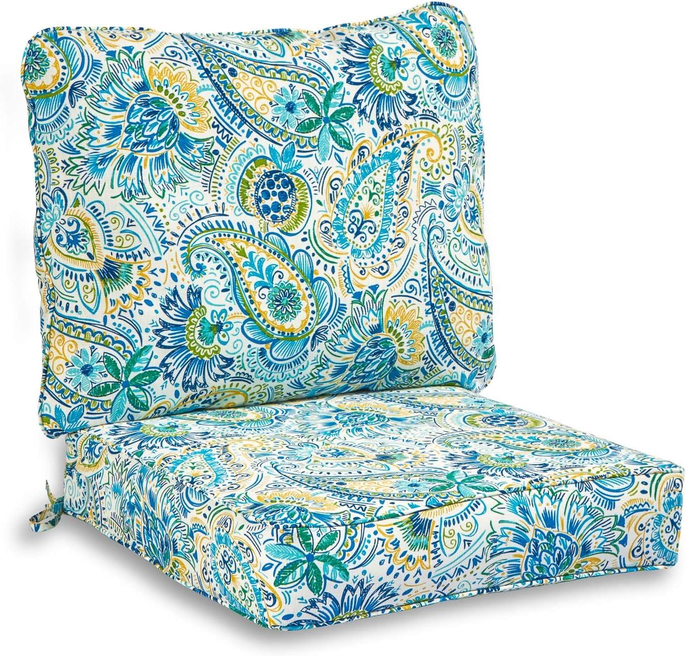 South Pine trust Porch Outdoor Baltic 2-Piece Deep Cushio OFFicial shop Seat Paisley