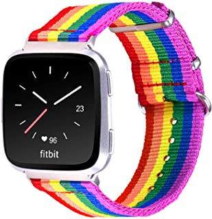 Bandmax Compatible for Rainbow Fitbit Versa Bands LGBT, Nylon Fitbit Straps Accessories Breathable Sport Wristband Versa W...