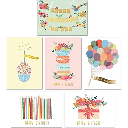 Amazon Com 36 Pack Happy Birthday Cards Bulk Boxed Set 36 Unique Assorted Designs Blank Inside Envelopes Included For Men Women Kids Parents Office Health Personal Care