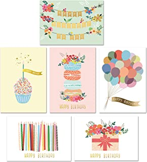 Gold Foil Bulk Birthday Cards Assortment - 48pc Bulk Happy Birthday Card with Envelopes Box Set - Assorted Blank Birthday Cards for Women, Men, and Kids in a Boxed Card Pack