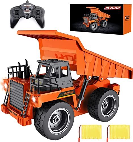 2021 BEZGAR Remote Control Construction Dump Truck Toy, 6 Channel RC Dump Truck discount Toys, high quality RC Construction Truck Vehicle Toys with 2 Rechargeable Batteries, TK183 outlet sale