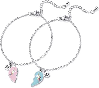 2pcs Best Friend Unicorn Bracelet BFF Heart Jewelry Christmas Birthday Gift for Friends or Sister