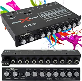 $38 » SoundXtreme ST-EQ755 1/2 Din 7 Band Car Audio Parametric Equalizer EQ with Front, Rear + Sub Output 8 Volt RMS Three Stere...
