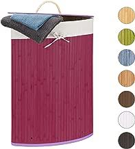 Corbeille Linge Pliante 60 L Relaxdays Panier Bambou 65 x 49,5 x 37 cm Sac int/érieur Coton Lilas