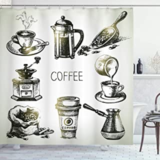 Ambesonne Coffee Shower Curtain, Brewing Equipment Doodle Sketch Grinder French Press Plastic Cup Scoop Vintage, Cloth Fab...