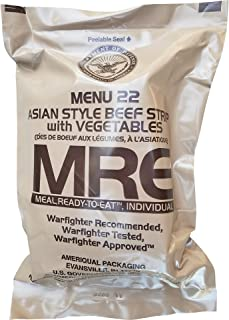 Ultimate 2018 US Military MRE Complete Meal Inspection Date January 2018 or Newer (Asian Beef Strips)