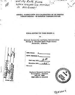 Design, fabrication and calibration of six iridium versus iridium-60 rodium thermocouples Final report (English Edition)