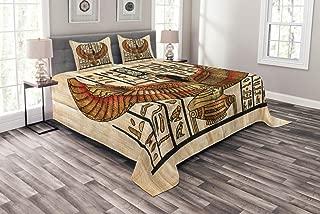 Lunarable Egyptian Bedspread, Oriental Historical Art Egyptian Parchment Texture Background, Decorative Quilted 3 Piece Coverlet Set with 2 Pillow Shams, Queen Size, Vermilion Beige