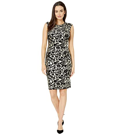 Vince Camuto Extended Cap Sleeve Bodycon Midi (Black/Gold) Women