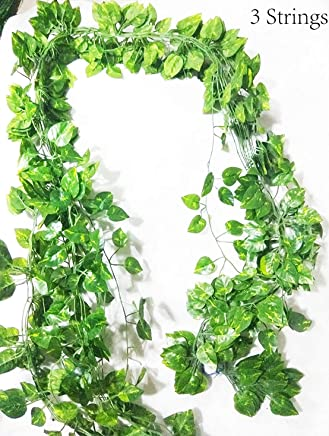 VINTAGEART Natural Look Green Artificial Money Plant Creeper/Vine (Pack of 3 Strings)(7 FEET Each) for Artificial Gardening and Home Decor