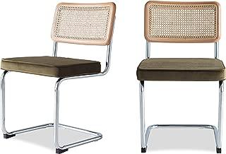 Edloe Finch Mid-Century Modern Dining Room Chairs Velvet Cushions - Rattan Back, Olive Green,