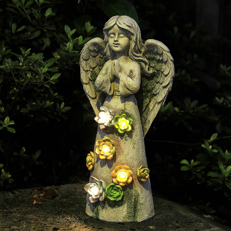 WEFINDER Garden Decor Angel Ranking San Francisco Mall TOP16 Statue Fairy Solar Powered Praying