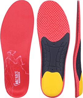 Valsole Sport Insoles for Plantar Fasciitis Women and Men Full Length Shoe Insert with Arch Support-Shock Absorption & Cushioning Insert for Flat Feet, Heel Spurs & Foot Pain (Red, US 7-10 Men)