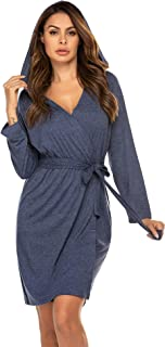 Women's Hooded Robes Cotton Lightweight Bath Robe Knit Bathrobe Soft Sleepwear V-Neck Ladies Nightwear