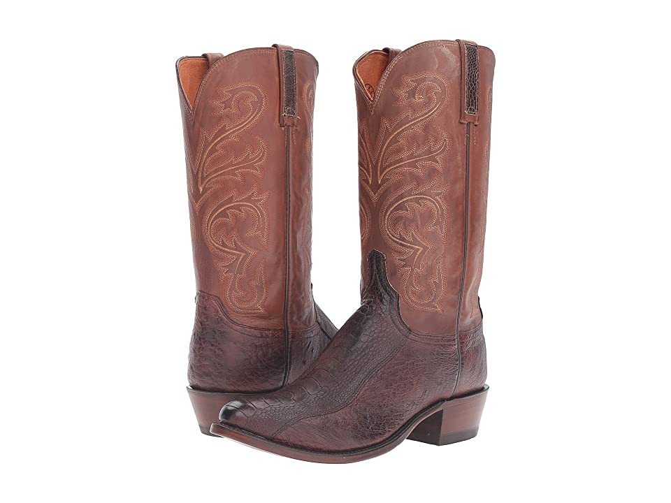 Lucchese Nick (Chocolate Ostrich/Tan Burnished) Men