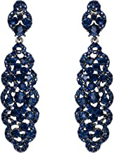 EVER FAITH Women's Crystal Elegant Wedding Hollow Floral Cluster Dangle Earrings