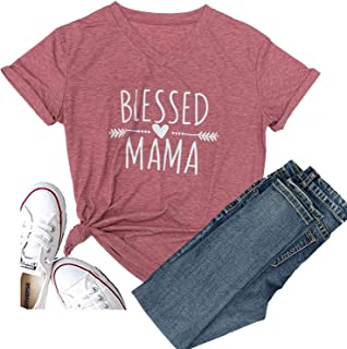 Baseball Mom Summer Blessed Mama Letters T Shirt Short Sleeve Blouse Halloween Tops Tee