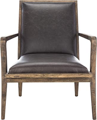 Safavieh Couture Home Rumor Mid-Century Dark Brown Faux Leather Accent Chair