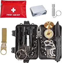 Emergency Survival Kit 36 in 1, Survival Gear Tool Kit SOS Survival Tool Emergency Blanket Tactical Pen Flashlight Pliers Wire Saw for Wilderness Camping Hiking First Aid Survival Kit for Earthquake