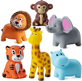 Mini Squeezable Zoo Animals (12 Pack) Vinyl Safari Jungle Animals, Squirt Bath Tub Toy for Kids, For Party Cake Decor, Bab...