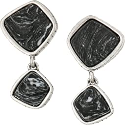 The Sak - Double Stone Drop Clip-On Earrings