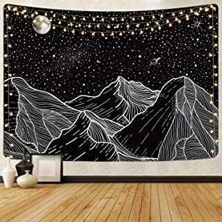 Mountain Tapestry Moon and Star Tapestries Starry Night Sky Tapestry Galaxy Space Tapestry Black and White Tapestry for Room(51.2 x 59.1 inches)