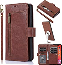 Mylne Multifunction 9 Card Slots Wallet Case for Huawei Mate 30 Pro,Leather Zipper Coins Purse Flip Case with Detachable Magnetic Cover Stand Function,Brown