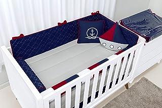 Kit Berço Navy - 10 Peças, Batistela Baby, azul marinho