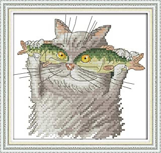 Good Value Cross Stitch Kits Beginners Kids - I Love Fish 11 CT 15