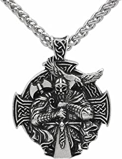 Detailed 3D Warrior Sword and Axe - Protection Celtic Cross Steampunk Mjolnir Scandinavian Raven Runen Pagan Fenrir Nordic Pendant Necklace - Stainless Steel Chain