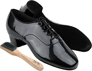 Very Fine Ballroom Latin Tango Salsa Dance Shoes for Men C2301 1.5 inch Heel + Foldable Brush Bundle