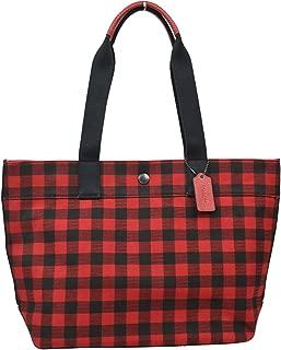 Womens F39848 Gingham Plaid Large Canvas Tote Bag Purse Hand bag