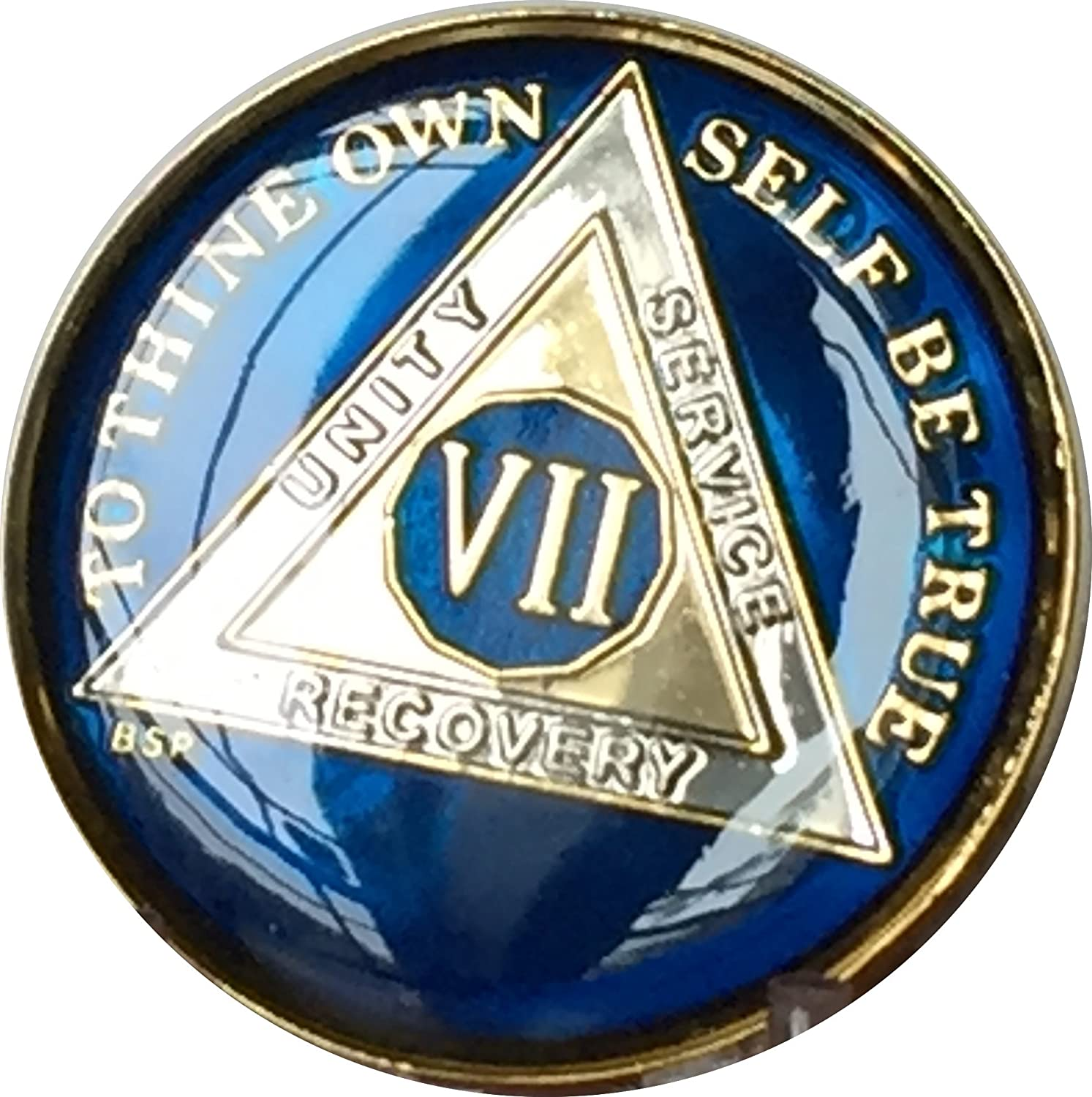 Max 72% OFF 7 Year Midnight Blue AA Alcoholics Anonymous Chip Tri Max 51% OFF Medallion