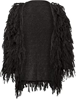 Womens Black Fringe Shaggy Faux Fur Open Jacket Cardigan