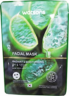 4 Mask sheets of Watsons Radiant & Moisturising Aloe Vera Juice Facial Mask. Free from Parabens, Alcohol & Colourants. Bamboo Fabric Mask Sheet. Made in Korea. (30 Ml Essence/sheet)