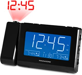 Magnasonic Alarm Clock Radio with USB Charging for Smartphones & Tablets, Time Projection, Auto Dimming, Dual Gradual Wake Alarm, Battery Backup, Auto Time Set, Large 4.8