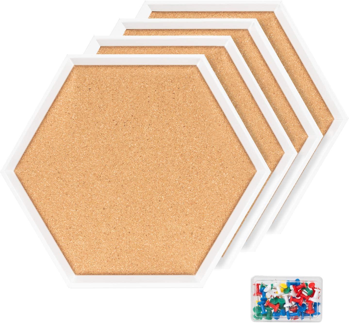 4 Packs Cork Boards Choice Hexagon Shape Bulletin White Boa Many popular brands Framed with