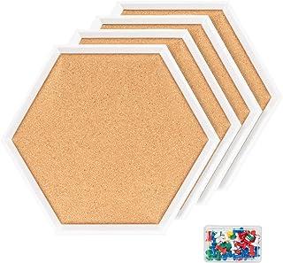 4 Packs Cork Boards Hexagon Shape with White Framed Bulletin Board Modern Decorative Cork Boards for School, Home,Office(S...