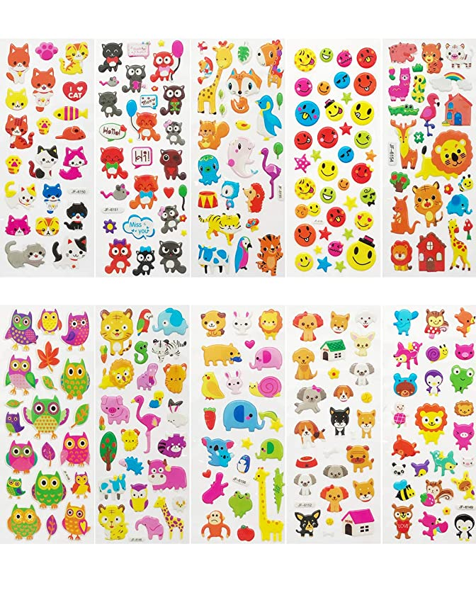 Allydrew A71583c 3D Puffy Bubble Stickers for Crafts & Scrapbooking, ((10 Sheets), Zoo Animals, Kitties, Doggies, Owls