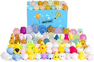 WATINC Random 70 Pcs Mochi Squishies for Party Favors, Squeeze Cat Stress Relief Toys, Birthday Gifts for Girls & Boys, 30 Pcs 2nd Generation Glitter Squishies and 40 Pcs Mochi Squishies, Egg Fillers