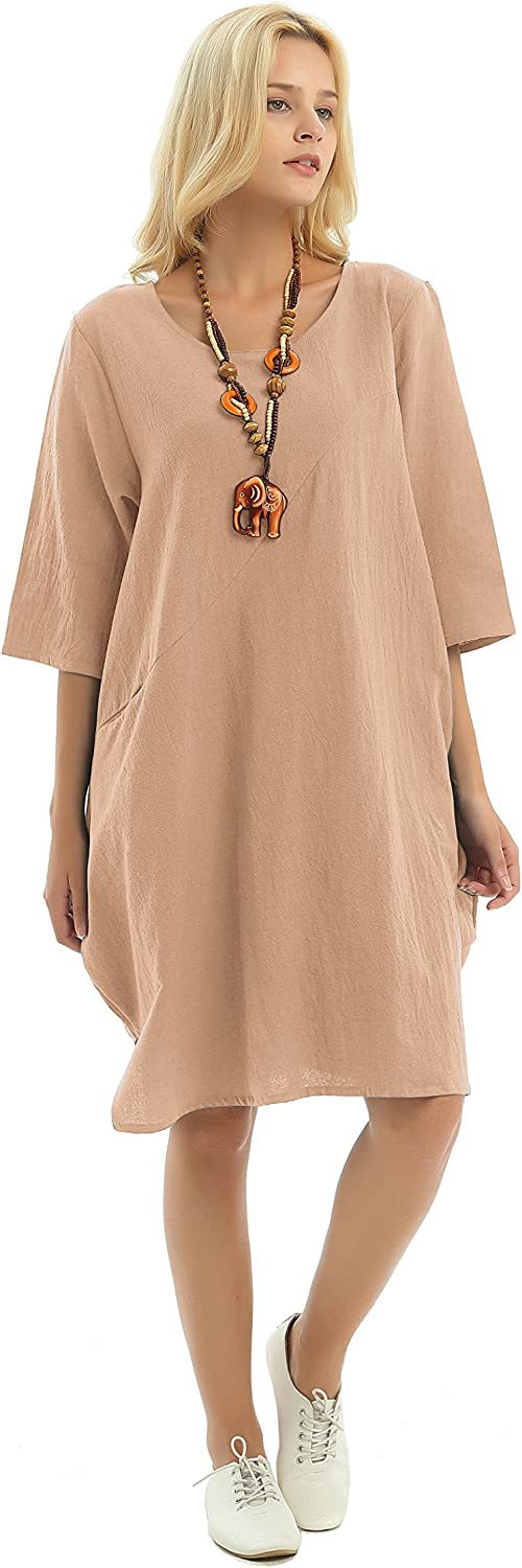 Anysize 3/4 Sleeves Side Pockets Soft Linen Cotton Spring Summer Fall Dress Plus Size Clothing F155A