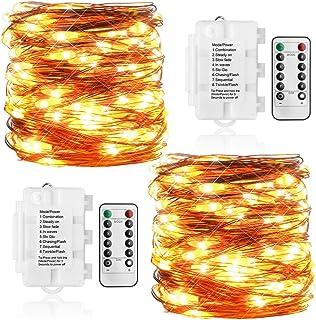 Koopower 2 Pack 36ft 100LEDs Fairy Lights Battery Operated String Lights 8 Mode Copper String Lights for Bedroom, Garden, ...